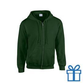 Fleece sweater capuchon L groen bedrukken