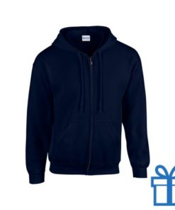 Fleece sweater capuchon L navy bedrukken