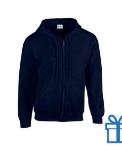 Fleece sweater capuchon L navy bedrukken