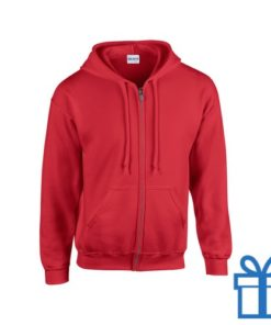 Fleece sweater capuchon L rood bedrukken