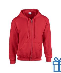 Fleece sweater capuchon L rood bedrukken