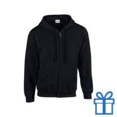 Fleece sweater capuchon L zwart bedrukken