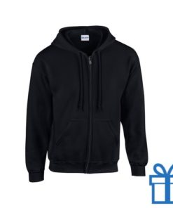 Fleece sweater capuchon L zwart bedrukken