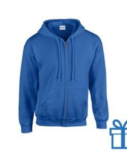 Fleece sweater capuchon M blauw bedrukken