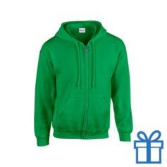 Fleece sweater capuchon M donkergroen bedrukken