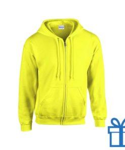 Fleece sweater capuchon M geel bedrukken