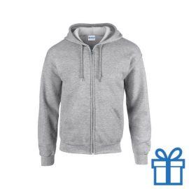 Fleece sweater capuchon M grijs bedrukken