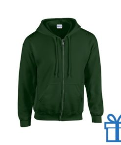 Fleece sweater capuchon M groen bedrukken