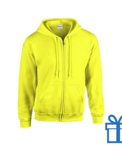 Fleece sweater capuchon S geel bedrukken