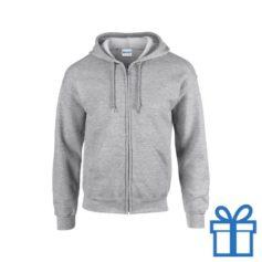 Fleece sweater capuchon S grijs bedrukken