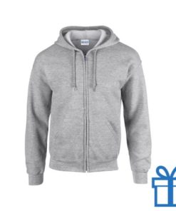 Fleece sweater capuchon S grijs bedrukken