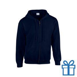 Fleece sweater capuchon S navy bedrukken