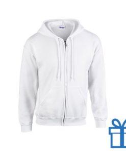 Fleece sweater capuchon S wit bedrukken