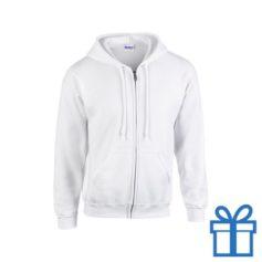 Fleece sweater capuchon XL wit bedrukken
