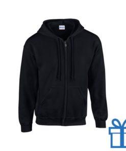 Fleece sweater capuchon XL zwart bedrukken