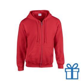 Fleece sweater capuchon XXL rood bedrukken