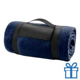 Fleecedeken polar carry-on navy bedrukken