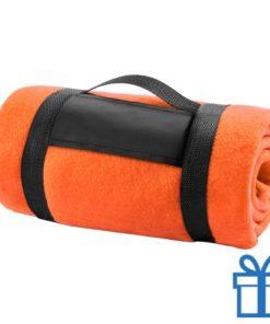 Fleecedeken polar carry-on oranje bedrukken