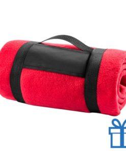 Fleecedeken polar carry-on rood bedrukken