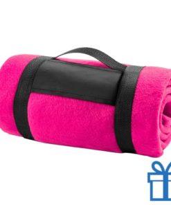 Fleecedeken polar carry-on roze bedrukken