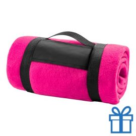 Fleecedeken polar carry-on roze bedrukken