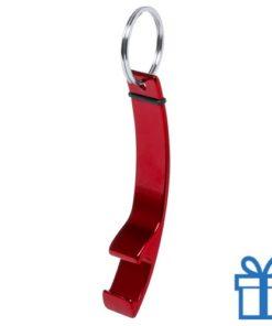 Flesopener sleutelhanger rood bedrukken