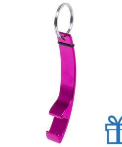 Flesopener sleutelhanger roze bedrukken