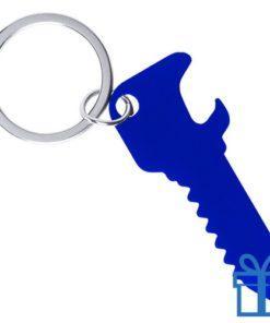 Flesopener sleutelhanger sleutel blauw bedrukken