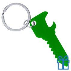 Flesopener sleutelhanger sleutel groen bedrukken