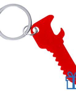 Flesopener sleutelhanger sleutel rood bedrukken