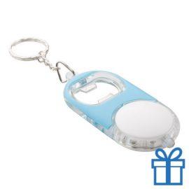 Flessenopener plastic metaal ring blauw bedrukken