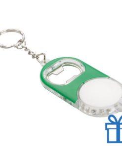 Flessenopener plastic metaal ring groen bedrukken