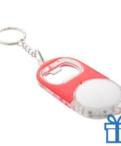 Flessenopener plastic metaal ring rood bedrukken