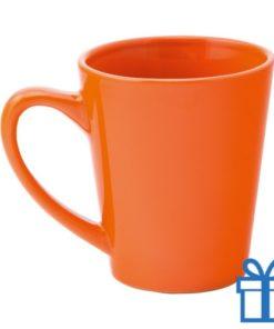 Gekleurde keramische mok oranje bedrukken