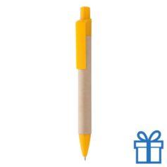 Gerecyclede papieren balpen clip geel