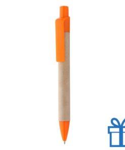 Gerecyclede papieren balpen clip oranje