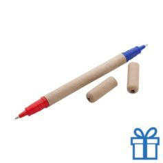 Gerecyclede papieren balpen twee zijden rood blauw