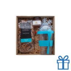 Geschenkset Granola blauw bedrukken
