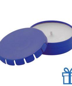 Geurkaars vanille geschenkdoosje blauw bedrukken