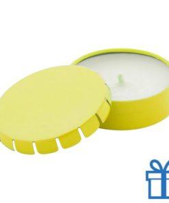 Geurkaars vanille geschenkdoosje geel bedrukken