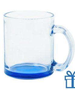 Glazen mok gekleurde bodem blauw bedrukken