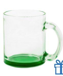 Glazen mok gekleurde bodem groen bedrukken