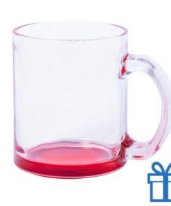 Glazen mok gekleurde bodem rood bedrukken