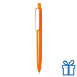 Goedkope balpen witte clip oranje