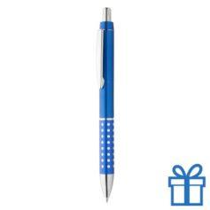 Goedkope plastic balpen metalen clip blauw bedrukken
