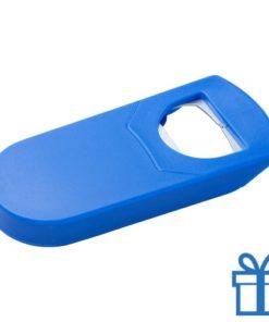 Goedkope plastic flessenopener blauw bedrukken