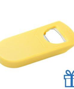 Goedkope plastic flessenopener geel bedrukken
