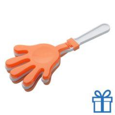 Handje klapper oranje bedrukken