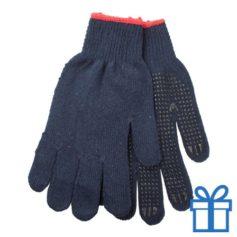 Handschoenen katoen blauw bedrukken
