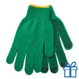 Handschoenen katoen groen bedrukken